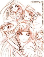 Group Anime Pencil Sketch by kathy100