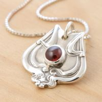 Spoon Pendant w Red Garnet by metalsmitten
