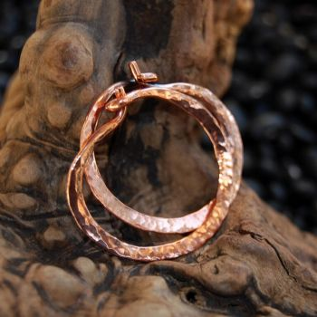 Hammered Copper Locking Hoops by DreamingDragonDesign