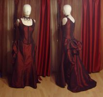 Red Bustle gown by azdaja