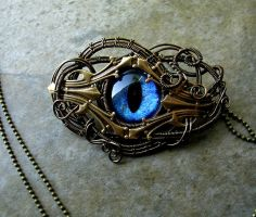Kraken Blue - Wire Bronze Brass Pendant Brooch by LadyPirotessa