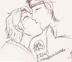 otacon snake kiss by XnightkidsX