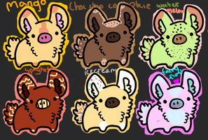 7 point bunny pigs by DragonsAdopts