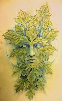 Green man and moon by knotty-inks