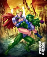 Power Girl vs She-Hulk by venneker