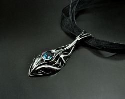 Elf silver pendant with topaz by GatoJewel-DerKater