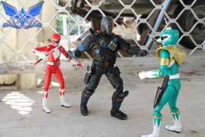 Mercenary fights the Rangers by BoboMagroto