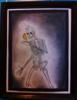 A Skeleton Holding a Butterfly (framed) by GrammarshineHyena