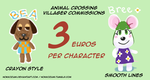 Animal Crossing Commissions! (3 bucks a piece) by Nokkozumi