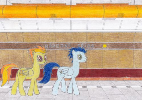 Spitfire and Soarin at Narodni Trida by Tails-CZ