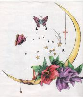 Moon and Butterfly 2 by Saoni