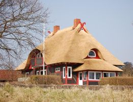 Red house with reed roof by Barefeet-in-the-rain