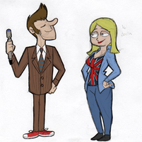 Doctor and Rose: Brown (Power Puff style) by TateShaw