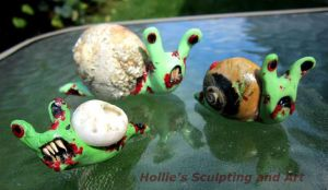 Zombie snails clay figures by HollieBollie