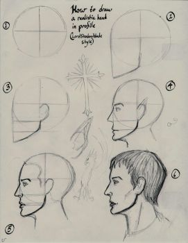 How to draw a head in profile by Theophilia