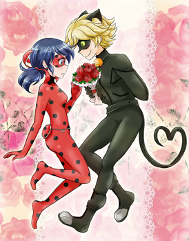 Ladybug and chat noir by chikorita85