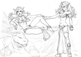 Commission - 2 Elves WIP by cocodesbois