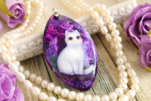 Cat on a lilac tree - hand painted stone pendant by LunarFerns