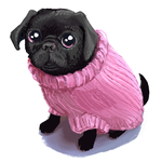 Pug in Sweater by katiepox