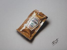 Drawing time lapse: Heinz Mustard Sachet by marcellobarenghi