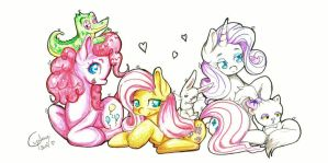 Pinkie, Fluttershy and Rarity with their pets by Cupikagi