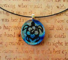 Hibiscus Turtle Fused Glass Necklace Pendant by FusedElegance
