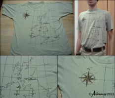 Hand painted map t-shirt by adoomer