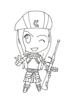 Chibi Resistance Caitlyn - lineart by KainNoctis