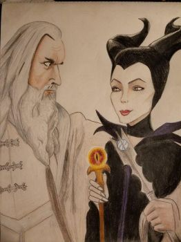 Saruman and Maleficent by woofinfinity