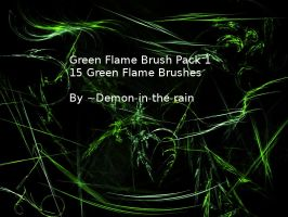 (Requested) Green Flame Gimp Brush Pack 2 by Demon-in-the-rain