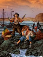 Pirates in the Alacran Island by Alexlapiz