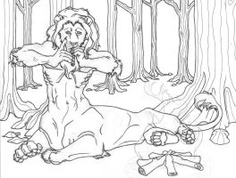 liontaur, uncolored, inks by MechanicalHyena