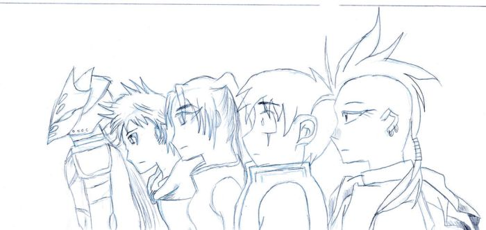 Character line up 1 (sketch) by Raja-786