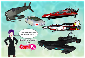 Futuristic Vehicles Image set for Comipo! by Lady-Aurora-Moon