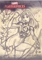 Invisible Woman Sketch Card by RyanKinnaird