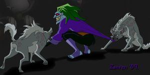 Joker playing with hyenas by Zanten