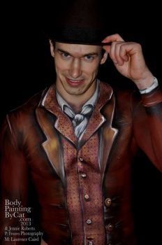 Mr Darcy old fashioned suit clothes bodypaint by Bodypaintingbycatdot