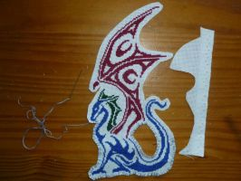 Bad-ass dragon embroidery by BellaGBear
