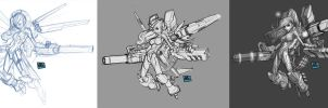 Armored Space Girl Process01 by billydallaspatton