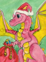 Santa Dragon ACEO by The-GoblinQueen