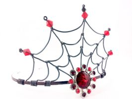 Bloodline - Black and Red Spider Web Crown by angelyques