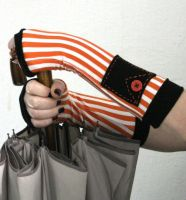 Black and Orange striped fingerless gloves by WearMeUp