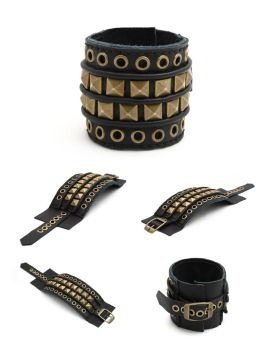 DV01-EPIC:  Black Leather Cuff Bracelet, Hand Stit by tiptopland