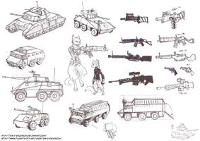 sketch dump - vehicle and weapon design and 2 cats by davi-escorsin