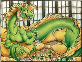 Sushi Dragon Original Painting Auction $75 ! by lady-cybercat