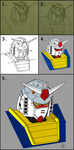 Gundam RX-78-2 head study process by wildspark