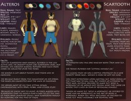 Alteros and Scartooth Character Sheet by pikminpedia