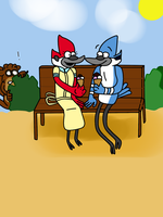 Mordecai and Margaret having an Icecream by Morbylover