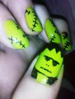 Frankenstein Nails by Chelseapoops