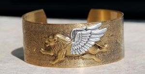 SOLD Winged Lion Cuff Bracelet by kittykat01